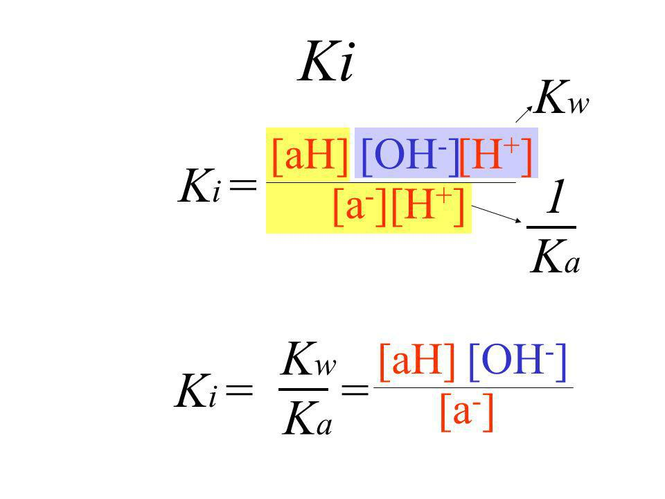 Ki Kw [aH] [OH-] [a-] Ki = [H+] 1 Ka [aH] [OH-] [a-] Ki = = Kw Ka
